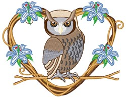 Heart Owl embroidery design
