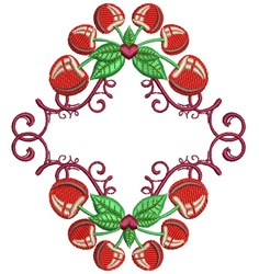 Frame Cherries embroidery design