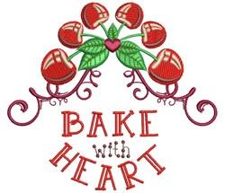 Bake With Heart embroidery design