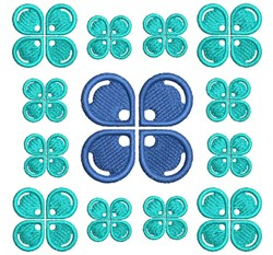 Blue Floral Block embroidery design