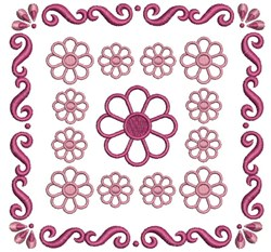Red Flower Block embroidery design
