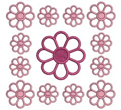Red Daisy Block embroidery design
