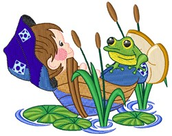 Boy & Frog embroidery design