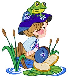 Kid & Frog embroidery design