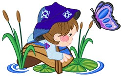 Boy & Butterfly embroidery design