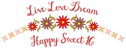 Happy Sweet 16 embroidery design