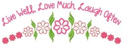 Live Well embroidery design