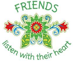 Friends Listen embroidery design