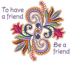 Be A Friend embroidery design