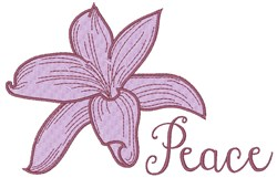 Peace Lily embroidery design