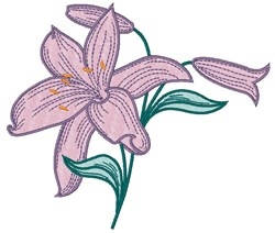 Purple Lily embroidery design