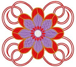 Red Floral embroidery design