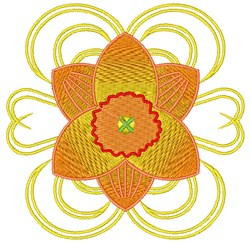 Orange Daffodil embroidery design