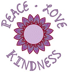 Peace Love Kindness embroidery design