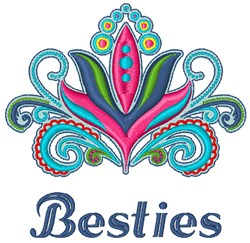 Besties Flower embroidery design