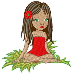 Girl Sitting embroidery design