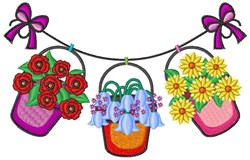 Flower Clothesline embroidery design