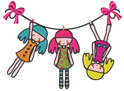 Doll Clothesline embroidery design