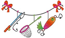 Fishing Clothesline embroidery design