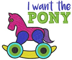 I Want Pony embroidery design