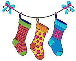Stocking Clothesline embroidery design