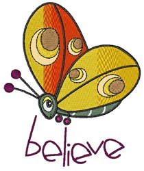 Believe Butterfly embroidery design