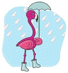Rain Flamingo embroidery design