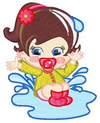 Girl In Puddle embroidery design