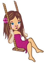 Girl On Swing embroidery design
