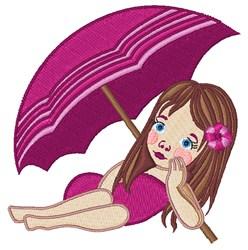 Girl Under Umbrella embroidery design