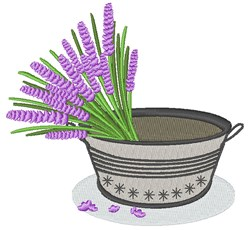 Lavender In Bucket embroidery design
