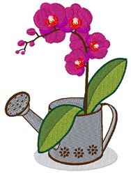 Orchid Water Can embroidery design