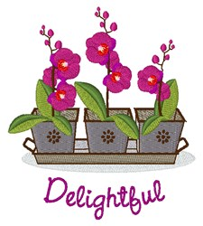 Delightful Orchids embroidery design