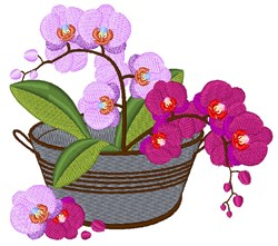 Orchid Bucket embroidery design