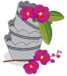 Orchid Pots embroidery design