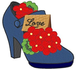 Love High Heel embroidery design