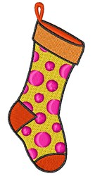 Polka Dot Stocking embroidery design