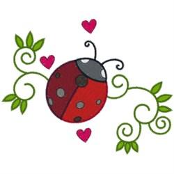 Ladybug & Swirls embroidery design