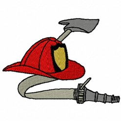 Fire Hat Ax Hose embroidery design