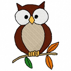 Owl on a Branch embroidery design