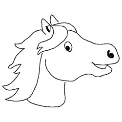 Pony Head Outline embroidery design