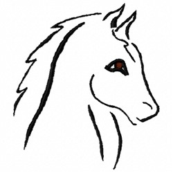 Horse Head Outline embroidery design