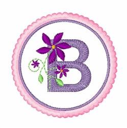 Floral motif font B embroidery design