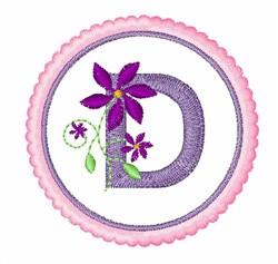 Floral motif font D embroidery design