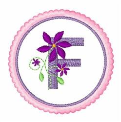 Floral motif font F embroidery design