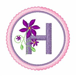 Floral motif font H embroidery design