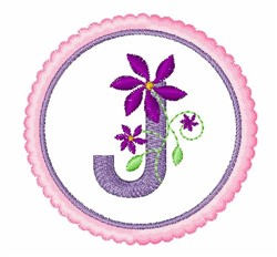 Floral motif font J embroidery design