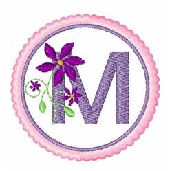 Floral motif font M embroidery design