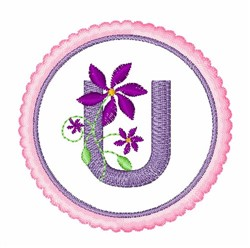 Floral motif font U embroidery design