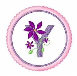 Floral motif font Y embroidery design